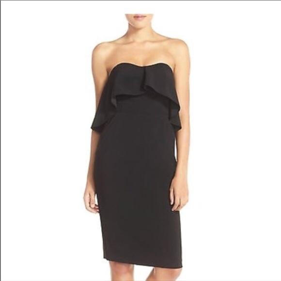 1be486f756bd Chelsea28 Dresses | Black Strapless Ruffle Dress W Pockets | Poshmark